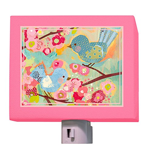 Oopsy Daisy Cherry Blossom Birdies Night Light, Pink, 5