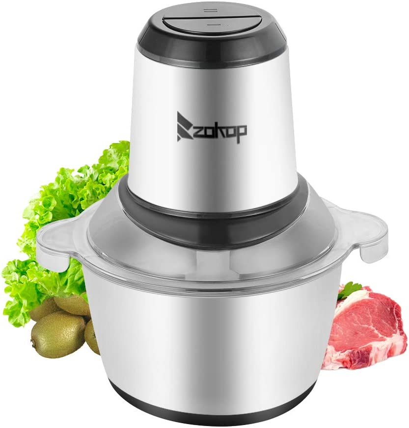 2-Speed Portable Electric Home Use Stainless Steel One-Button Meat Grinder(300W,2L,304 Stainless Steel Cup&4 Sharp Blades,Silver & Black),Meat Grinders for Home Kitchen Use,Electric Meat Grinder,Food Processor,Meat Mixer,Sausage Maker,for Meat,Vegetables,Baby Food,Fruits,Nuts