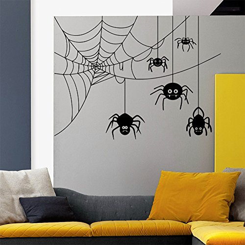 Wall Decals Halloween Spider In Web Horror Attributes Holiday Art Decor Kids Panic Room Bedroom Window Home Stickers Murals AM151 for $<!--$28.99-->