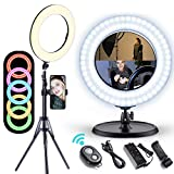 """Gimars Newest 2 in 1 EasyOperation14"""" Dimmable 3200/5500K/RGB LED Ring Light with Lighting Tripod & Table Stand for Camera Photo Video, Make Up, YouTube, Portrait and Photography Lighting"""