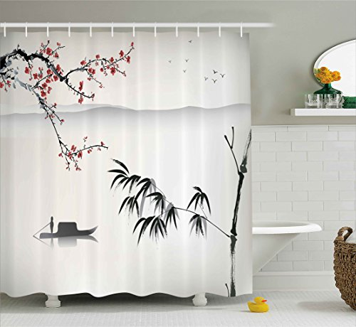 Ambesonne House Decor Collection Chinese Waterscape Painting Artwork Print With Bamboo Sakura Trees Birds Boat