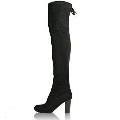 00d9dace17 New Womens Thigh High Over the Knee Boots Faux Suede Party Smart Casual  Ladies Stretch Mid