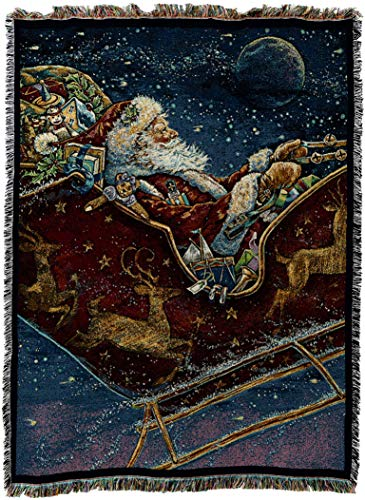 Pure Country Weavers - Santa Midnight Ride Woven Tapestry Throw Blanket with Fringe Cotton USA Size 72 x 54 ()