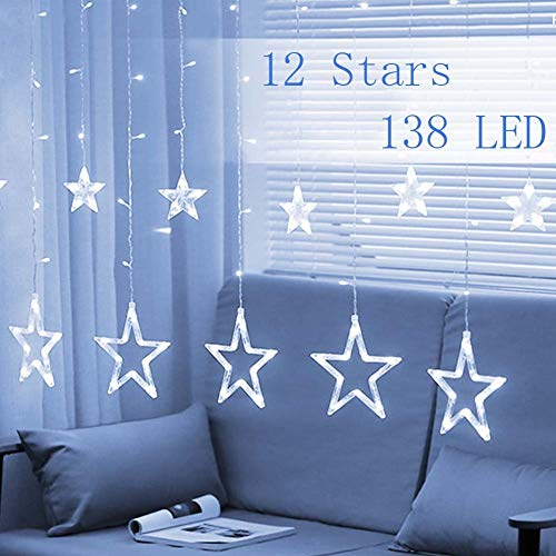 Twinkle Star 12 Stars 138 LED Curtain String Lights, Window Curtain Lights with 8 Flashing Modes Decoration Christmas, Wedding, Party, Home Decorations, White (Christmas Light Curtains Window)