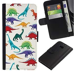 A-type (Dinosaur Pattern White Saurus Kids) Colorida Impresión Funda Cuero Monedero Caja Bolsa Cubierta Caja Piel Card Slots Para HTC One M8