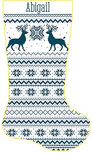 (Pattern Only Cross Stitch Christmas Stocking Band Reindeer and Snowflakes with Name)