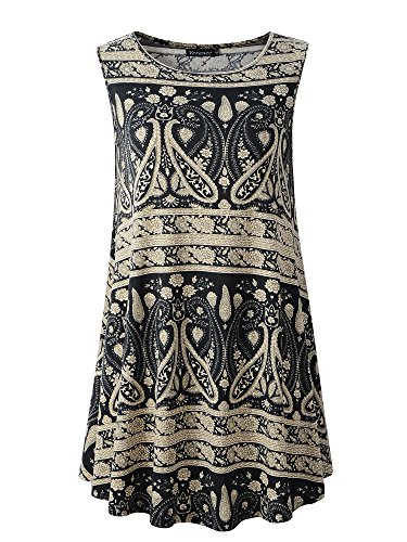 Round Collar Womens Coat - Veranee Women's Sleeveless Swing Tunic Summer Floral Flare Tank Top (XXX-Large, 6-23)