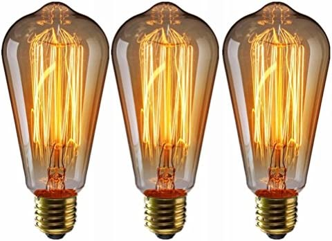 LEDMOMO Vintage Edison Bulbs, 60 W E27 Tungsten Filament Bulbs para iluminación colgante, apliques de pared, ventilador de techo y lámparas, paquete ...
