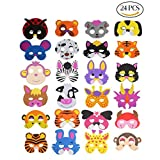 CCINEE 24 Kids Foam Animal Masks for Party Bag Fillers, 16 Assorted.