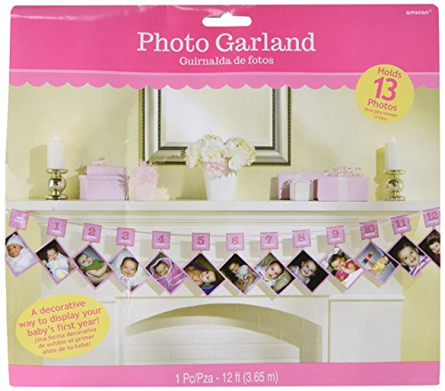 1st Birthday Glitter Photo Garland - Pink