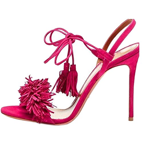 Lace Up Slingbacks (Comfity Heeled Sandals For Women Women's Tassels Sandals Lace Up Slingback Shoes High Heel Dress Sandals 7 M US)