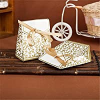 Hoxekle 100 PCS Candy Favor Bags Gift Boxes with Ribbons Wedding Party Favour Sweet Cake Gift Candy Boxes for Anniversary Wedding Party