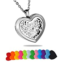 HooAMI Filigree Heart Stainless Steel Aromatherapy Essential Oil Diffuser Necklace Locket Pendant