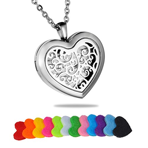 HooAMI Aromatherapy Essential Oil Diffuser Necklace - Stainless Steel Retro Filigree Heart Locket -