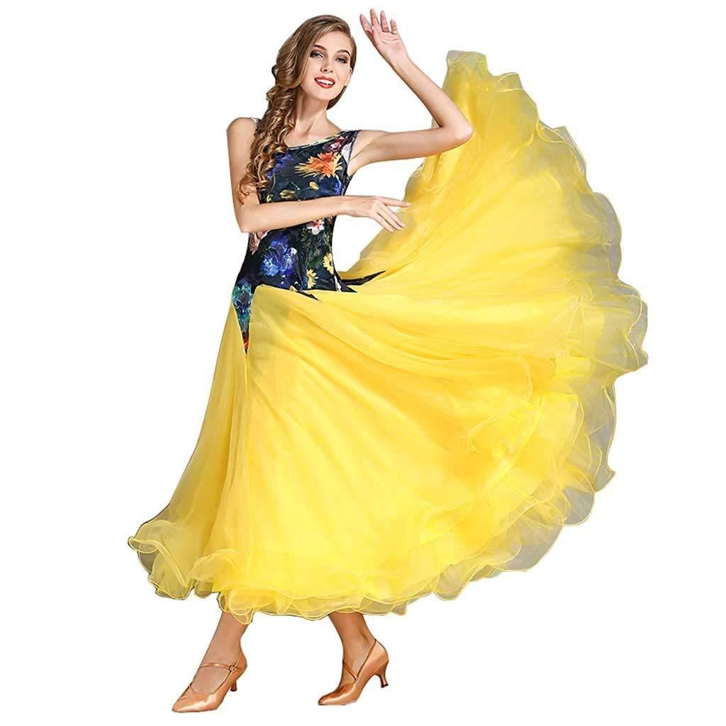 素晴らしい 大人のためのダンス舞踊衣装全国標準の社交ダンスの競争のスーツ現代のワルツタンゴダンス斜めショルダーベルベットノースリーブのドレス イエロー B07Q3F5D9H S S s|イエロー イエロー S s s, 緑花木ネットストアー:08dc73e6 --- a0267596.xsph.ru