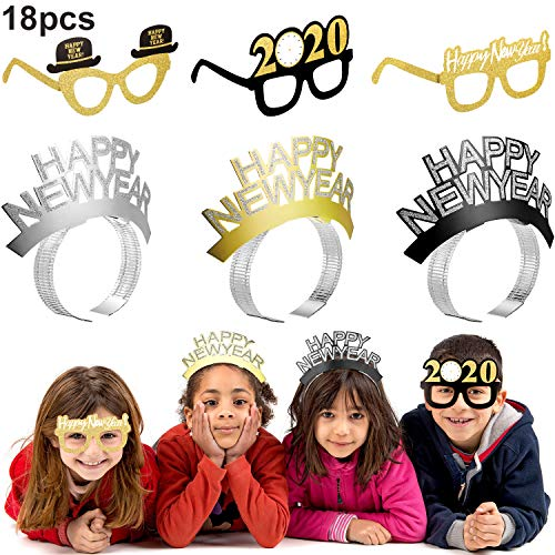 18 Pieces New Year Photo Prop Decorations, Including 9 Pieces Happy New Year Headband, 9 Pieces Glitter Decorative Eyeglasses Frames for 2020 New Year Party Favors