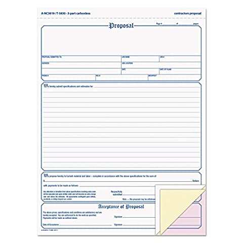 TOPS Proposal Form, 8-1/2 x 11, Three-Part Carbonless, 50 Forms - Carbonless Triplicate Proposal Form