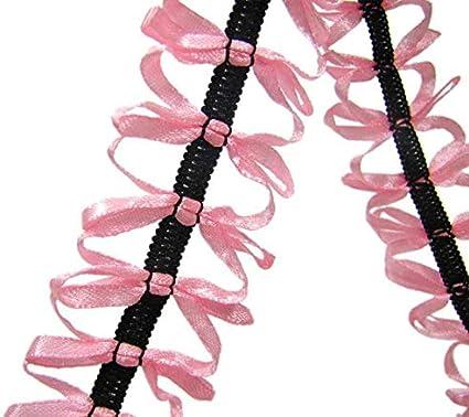"Rare HTF Cute Pink Bows Black Elastic Ribbon Trim 1 1//2/""W"
