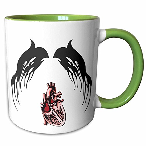 3dRose Blonde Designs Happy and Haunted Halloween - Halloween Tribal Wings and Human Heart - 15oz Two-Tone Green Mug (mug_131367_12)