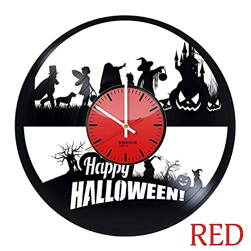 Happy Halloween HANDMADE Vinyl Record Wall Clock - Get unique bedroom wall decor - Gift ideas for adults and youth – Halloween Theme Unique Modern Art