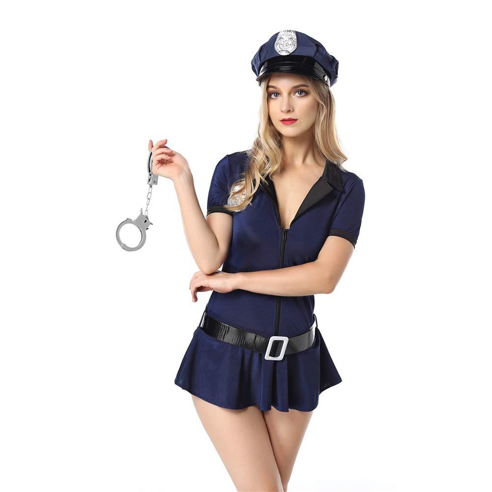OLKWG Disfraz De Policía Sexy Disfraz Policía Sexy Halloween Tentación Uniforme,XL
