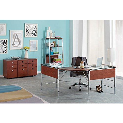 Realspace Mezza Quot L Quot Shaped Glass Computer Desk Cherry