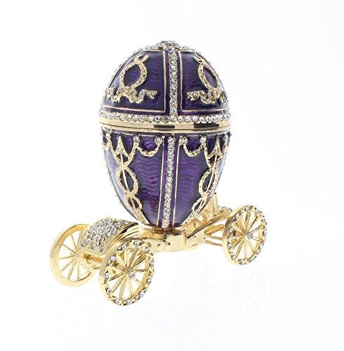 Ciel Jeweled Austrian Crystal Hinged Trinket Box Egg Cinderella Carriage Austrian Crystal Jeweled Pewter Box