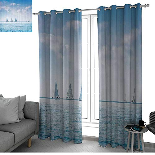 Ocean Blackout Curtains Panels for Bedroom Sail Boats Sea Regatta Race Sports Panoramic View Seascape Summer Sky Photo Curtain Panels Light Blue and White W108 x L108 Inch