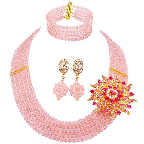 laanc New Season Popular Necklace 5 Rows Peach Nigerian Wedding African Beads Jewelry Set A-032Q