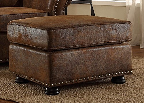 Corvallis Brown Bomber Jacket Microfiber Ottoman by Homelegance