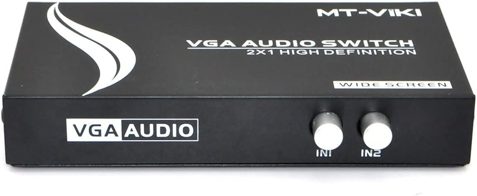 iKKEGOL 2 Port VGA Audio Video Switch 2x1 SVGA Switcher Box 2 in 1 Out PC Monitor LCD TFT Sharing