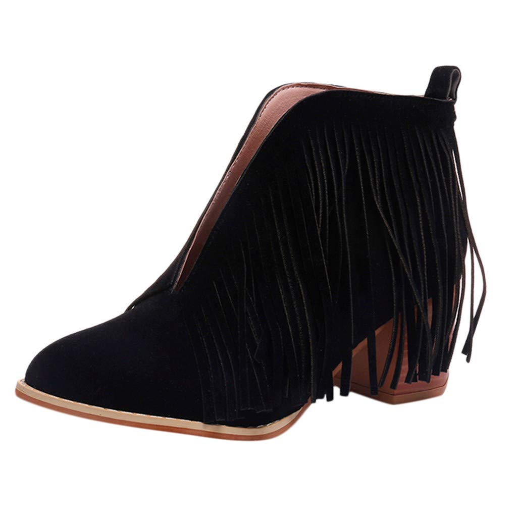 LIM&Shop ⭐ Flats-Shoes Womens Western Fringe Booties Cowboy Low Heel Fall Ankle Short Boots Shoes Tassels Chukka Boot Black by LIM&SHOP-Sandals & Sneakers