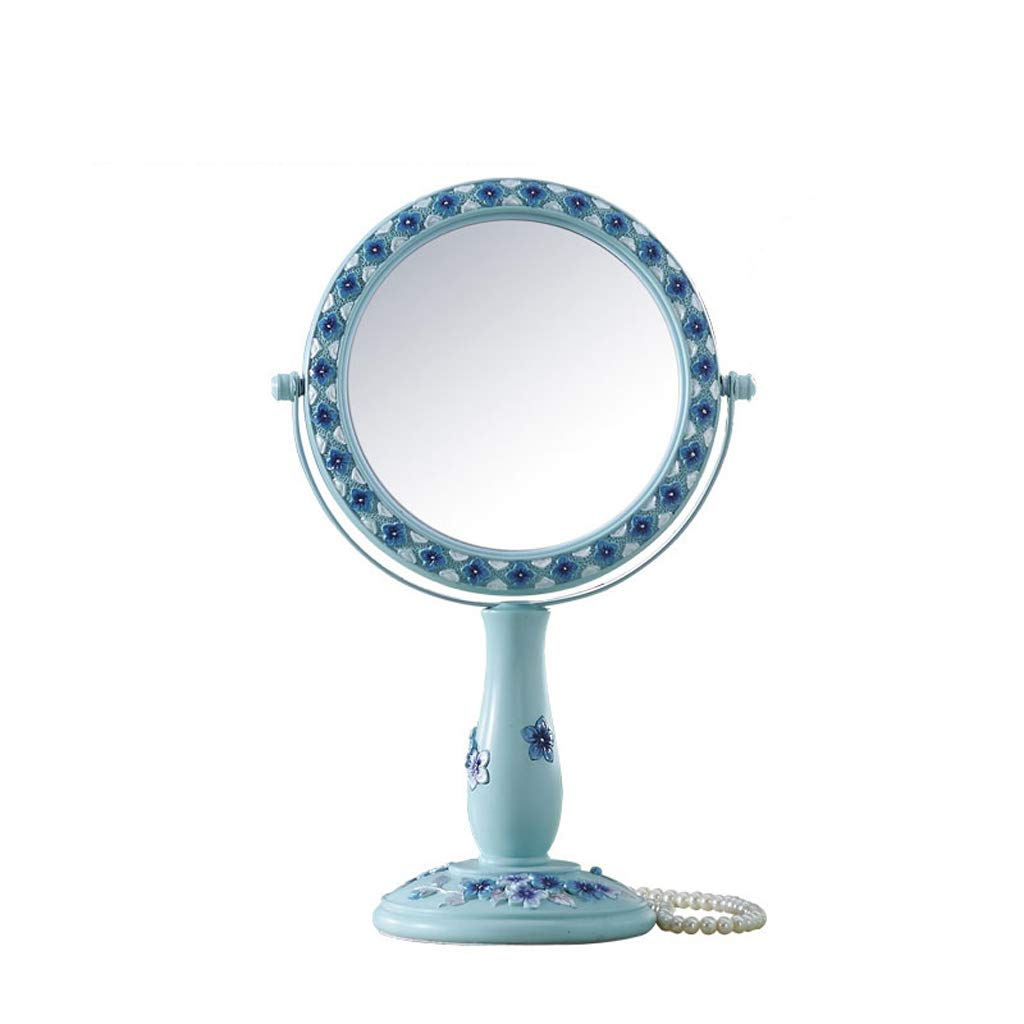 C&Q CQ European Desktop Mirror Creative Double-Sided Blue Mirror Magnified Princess Vanity Mirror Carved Mirror (Size : M)