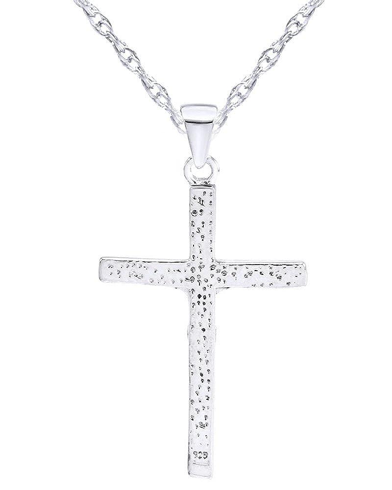 Wishrocks Jesus Christ Crucifix Cross Pendant Necklace in Sterling Silver