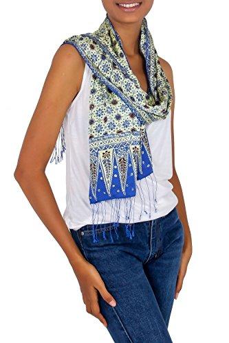 NOVICA Multicolor 100% Silk Hand Stamped Batik Scarf, Blue Jasmine'