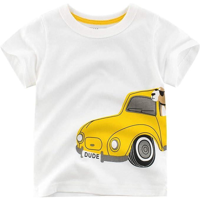 Summer for 1-6 T Kids Baby Boys Girls Short Sleeve Cartoon Print Tops Shirts Tee TM Colorful Boys Cartoon Shark T-Shirt,
