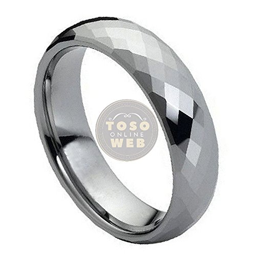Ladies 6mm Faceted Cut High Polished Tungsten Ring TS0790 - (6mm Faceted Band Gemstone Ring)
