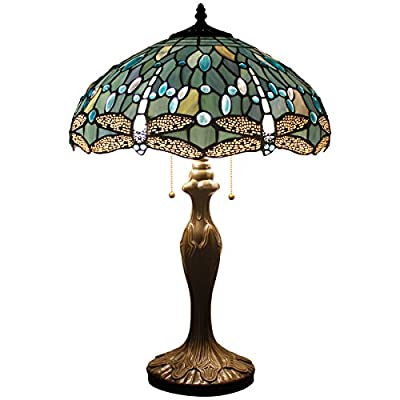WERFACTORY Tiffany Style Table Lamp 24 inch tall Sea-Blue Dragonfly Shade 2 Bulb Desk Light Zinc Base