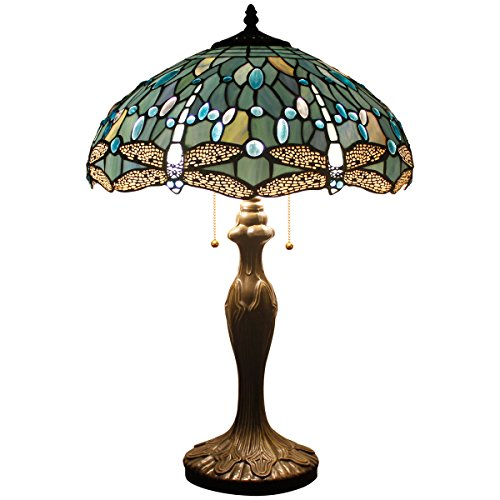 Glass Lamp Stained Table Glass (Tiffany Style Table Desk Beside Lamp 24 Inch Tall Sea Blue Stained Glass Shade Crystal Bead Dragonfly 2 Light Antique Zinc Base for Living Room Bedroom)