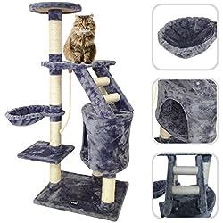 Lolipet - Árbol para gato de color gris con rascador - Torre para rascar de sisal natural