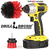 Drillbrush 2 Piece Red Stiff Bristle Rotary Cleaning Drillbrushes for Cleaning Siding, Brick, Stone, Fireplaces, Decks, Gutters, and More