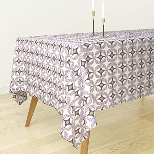 Roostery Mod Purple Green Tablecloth - Mid Century Modern Home Decor and Blackcurrant Moss Boxes Suares Ovals Stars by Spellstone - Cotton Sateen Tablecloth 70 x 144