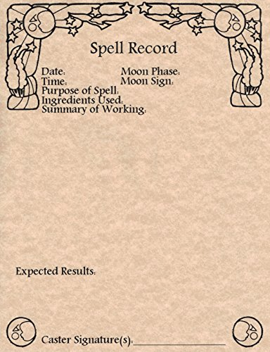 (Set of 10 Spell Record Worksheets for Book of Shadows, Wicca, Witchcraft Spell Working Pages (Copper))