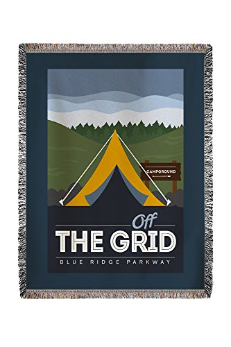 Lantern Press Blue Ridge Parkway - Off the Grid (Tent) - Discover the Park - Vector Style - Rounded Hills Background (60x80 Woven Chenille Yarn Blanket)