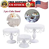 Cake Stands, 3 pcs White Metal Crystal Cake Holder Cupcake Stands with Pendants and Beads Cake Stand Dessert, Wedding Birthday Dessert Cupcake Pedestal Display, White USA STOCK (3, white)