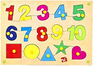 Toyvala Wooden Jigsaw Number& Shapes (15 Pieces)
