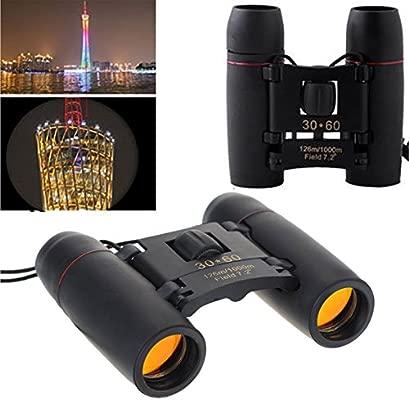 30/x 60/binoculares de mini port/átil plegable compacto telescopios d/ía y visi/ón nocturna Fusion TM