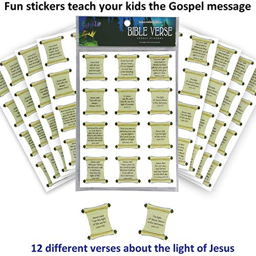 VBS Bible Verse Stickers (96 pack) - Hands-on Kid's Fun for Religious/Christian children's activities | VBS Sunday School Class Prizes or Favors | Bible -