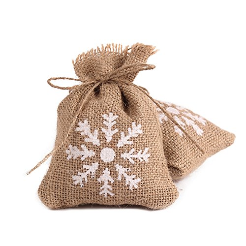 a67c18e48493 Caiyuangg® Jute Christmas Gift Bags Snowflakes, Vintage Gift Candy Jewelry  Sack Drawstring Bag, Set of 12