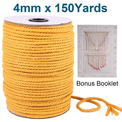 5mm-110Yards Not Recycle Material 5mm 1//5inch 110 Yards for Plant Hanger Craft Wall Hanging Handmade DIY Natural Cotton Macrame Cord Rope
